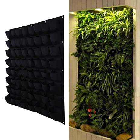 Easydeal 64/56 Pocket Felt Vertical Hanging Wall Garden Planter Recycled  Materials Wall Mount Balcony