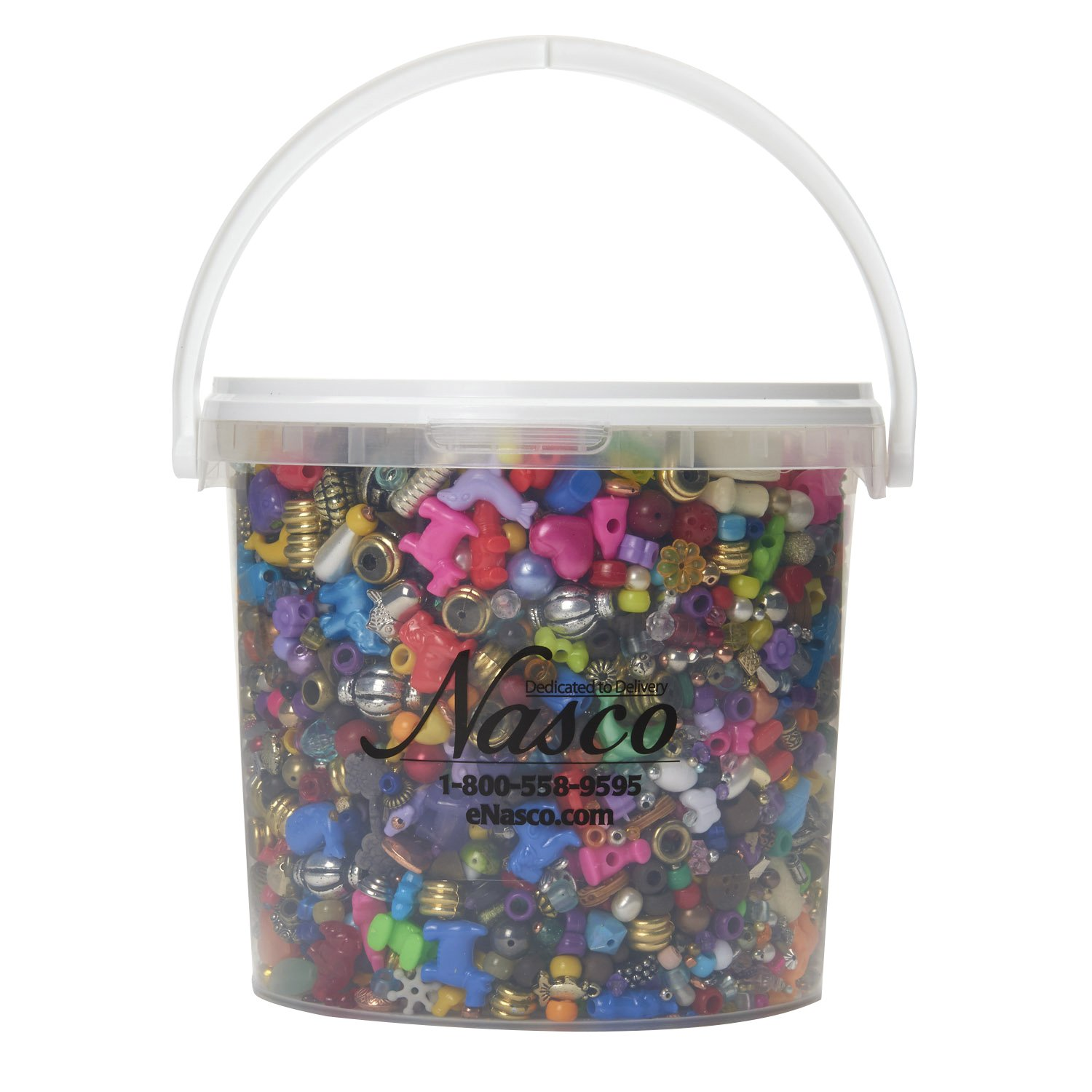 Nasco's Bucket O' Beads and Charms - 6, 500 Beads & Charms - 1, 350 ft of nylon cording