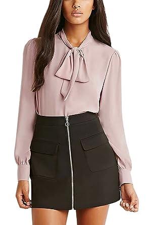 88461fb472b3e0 YOINS Women's Casual Chiffon Loose Bow Tie Top Long Sleeves High Neck  Blouse Picture# XXS