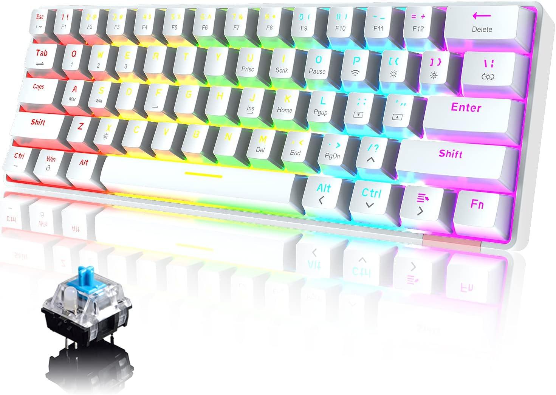 60% Teclado mecánico Cableado/inalámbrico Teclado Bluetooth 5.0 61 teclas RGB Rainbow LED con retroiluminación USB Type-C Teclado para juegos a prueba ...