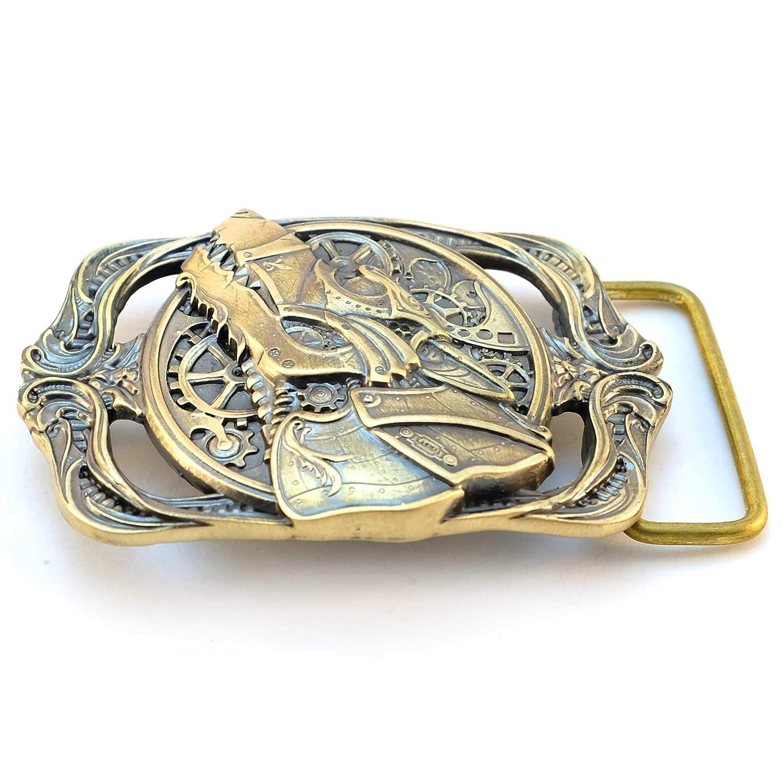 Solid brass sculptural Victorian art wolf belt buckle Belt buckle ...
