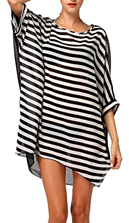 YousonGirl Womens Black and White Stripe Beach Cover Up Floral Lace Crochet  Hollow Out Tunic Swimwear a8eabbb9b