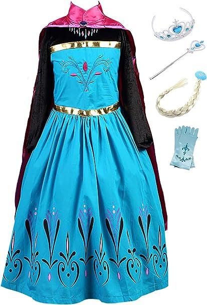YOSICIL Vestido Princesa Anna Frozen Niña con Capa Guantes Tiara ...