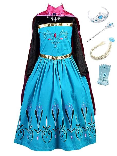 YOSICIL Vestido Princesa Anna Frozen Niña con Capa Guantes ...