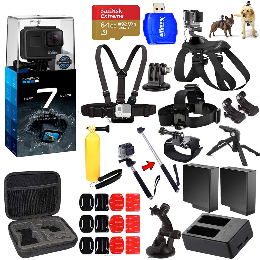 GoPro HERO7 Hero 7 Black All in 1 MEGA Accessory Bundle with 2 Extra Batteries and Charger, 64GB Micro SD, Chest Strap, Head Strap, Medium Case + Much More by Pixel Hub