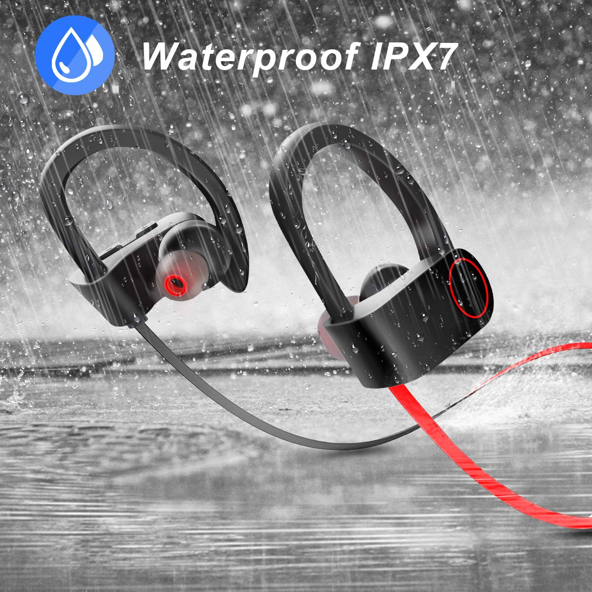 Bluetooth Headphones IPX7 Waterproof Wireless Sport Earphones HD Stereo Sound Sweatproof in-Ear Earbuds with Mic Noise Cancelling Headsets for Gym Running Workout 8 Hrs Play Time Black