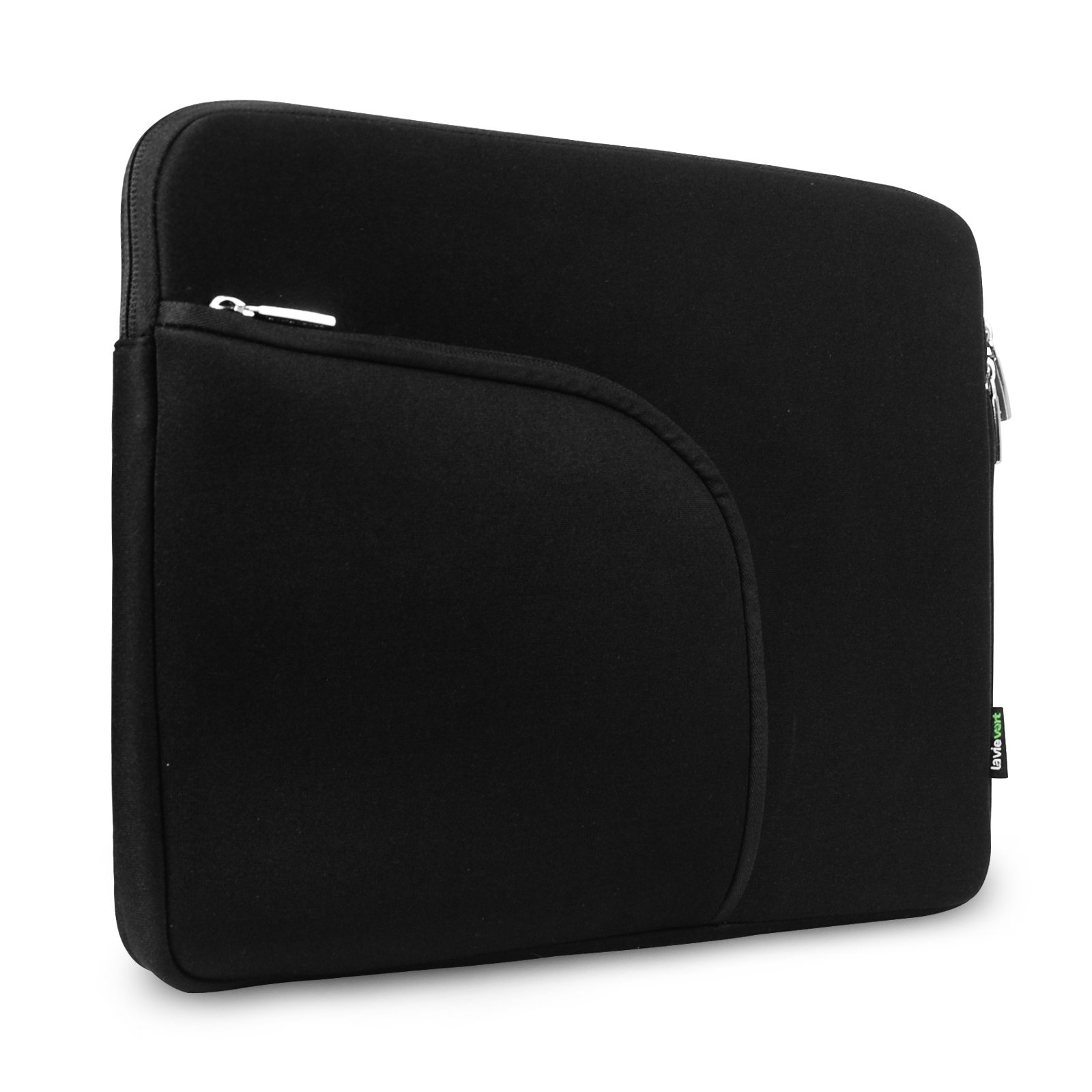 Lavievert Soft Neoprene(Water Resistance) Sleeve Case Bag with Extra Front Pocket for 13 inch Macbook Retina Pro,13 inch Macbook Air, 13 inch Macbook Pro and Most Popular 13-13.3 Inch Laptop – Black