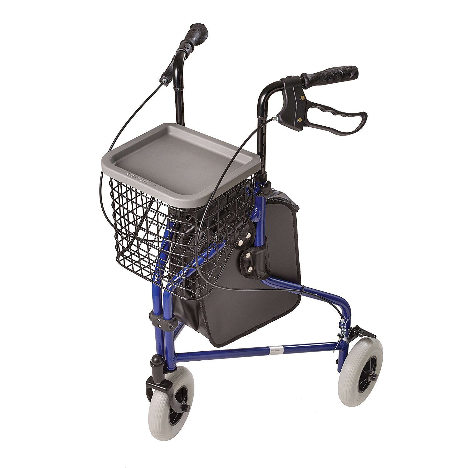 Rollator, Three Wheel Walking Aid CRX with Storage Bag- BLUE by Caremax Medical with Storage Bag and Basket by CareMax