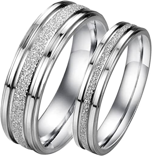His or Hers Matching Set Real Love Titanium Stainless Steel Couple Wedding Band Set in a Gift Box