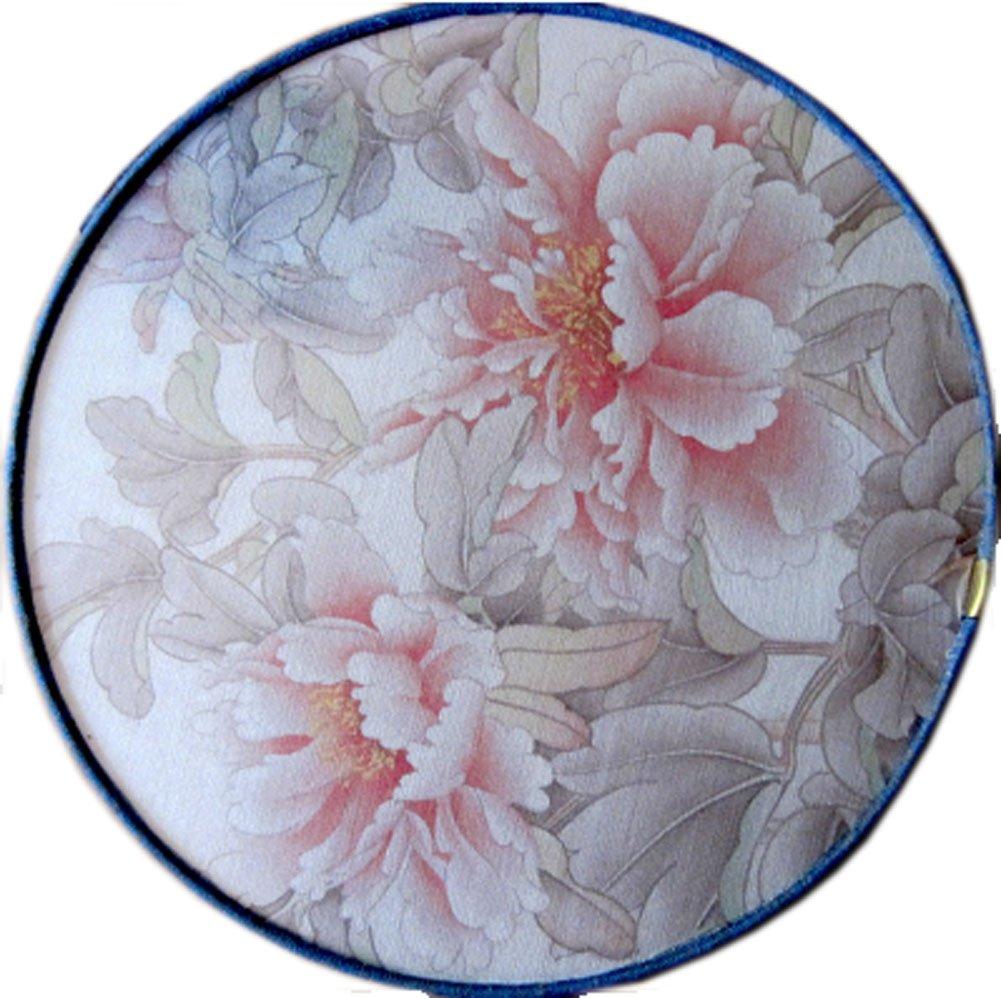 Quaste Dekor Bambus Griff Runde Hand rosa Blumen-Muster