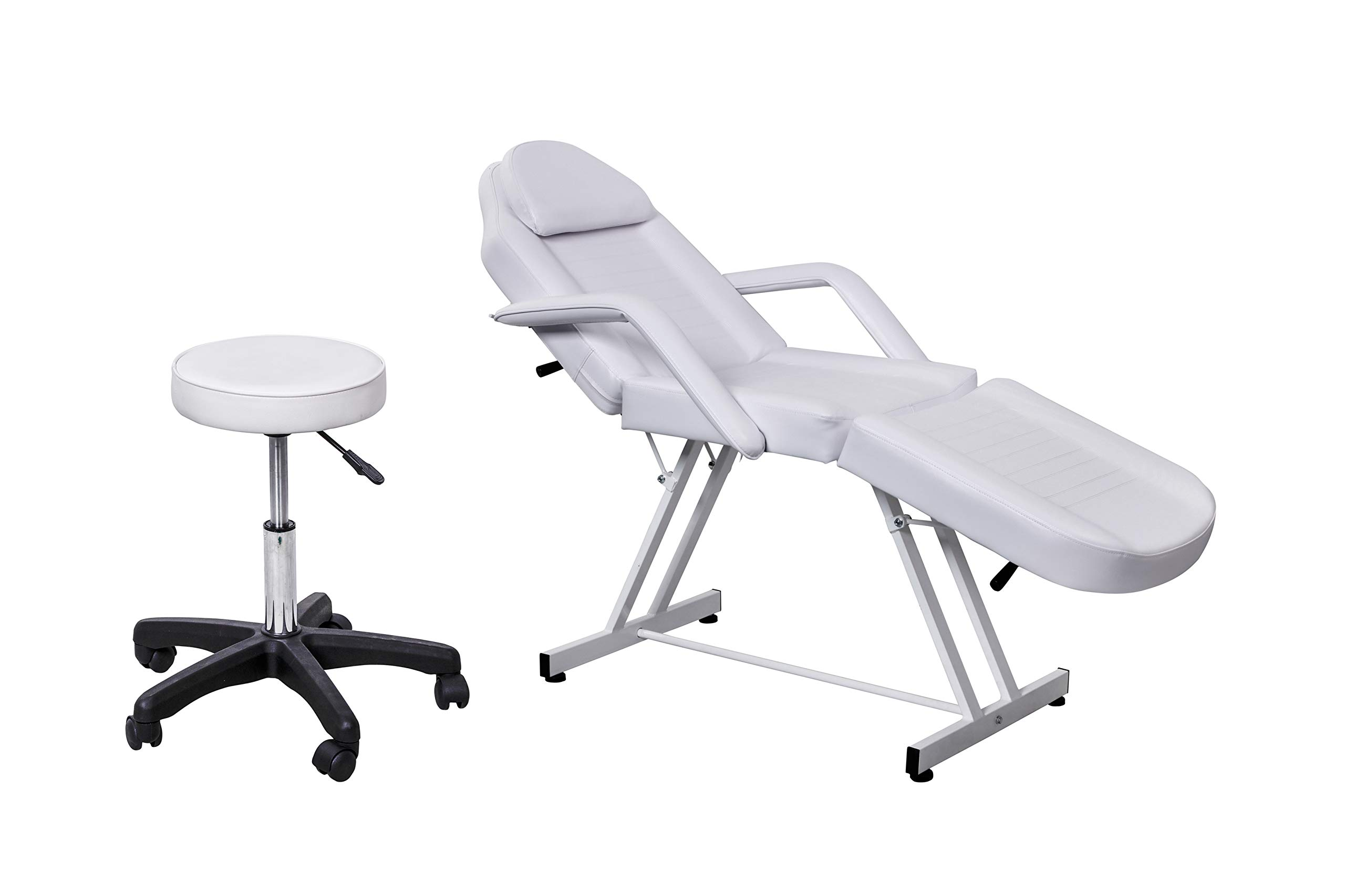 Beauty Style Professional Multi-purpose Spa Facial Bed Tattoo Bed Salon Beauty Bed with Stool White