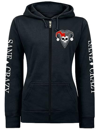 b057b3c1612f Harley Quinn Women Hooded Jacket Sane & Crazy Hoodie DC Comics Black:  Amazon.co.uk: Clothing