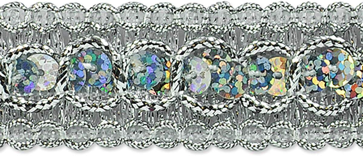 7//8in Trish Sequin Metallic Braid Trim Silver