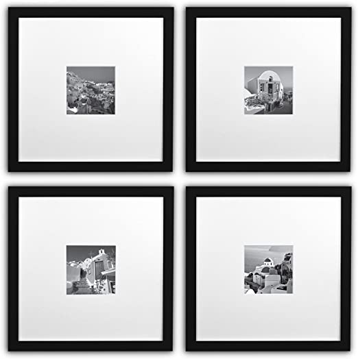 11x11-inch Square Photo Wood Frames,White Smartphone Frames Collection,Set of 4