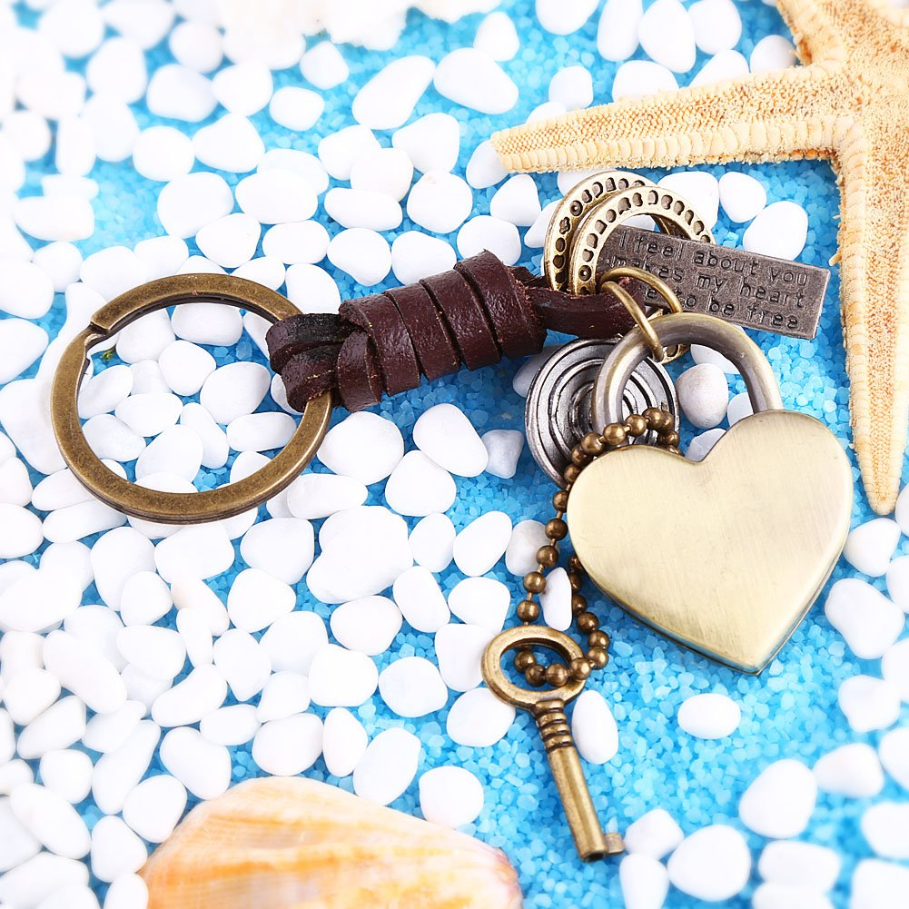 Walfront Creative Cute Detachable Handmade Retro Alloy Weave Genuine Leather Car Key Chain Keychain Women Men Key