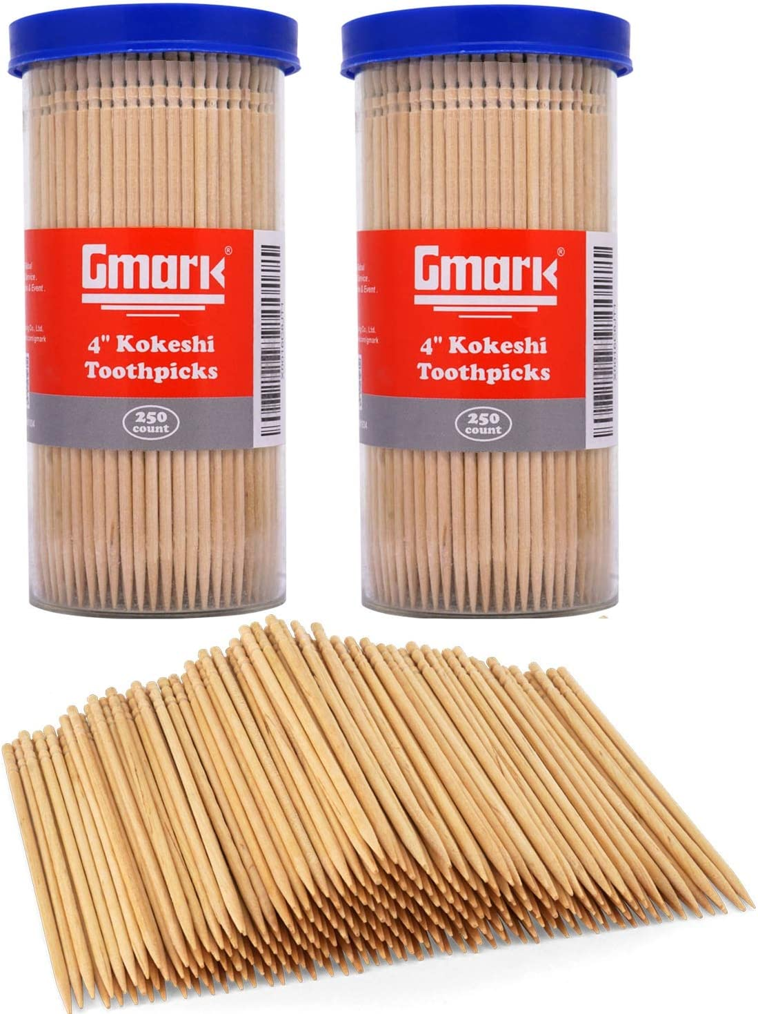 """Gmark Premium 4"""" Kokeshi Toothpicks Skewers 500ct (2 Packs of 250) Extra long toothpicks for appetizers GM1034"""