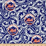 Fabric Traditions MLB New York Mets Cotton Broadcloth Fabric by The Yard, Multi