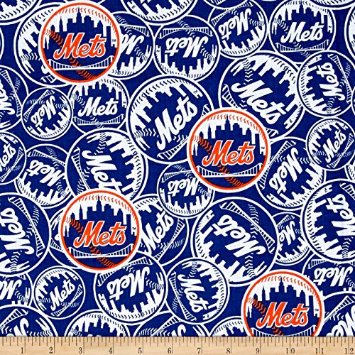 Fabric Traditions MLB New York Mets Cotton Broadcloth Fabric by The Yard, - New Fabric Mets York