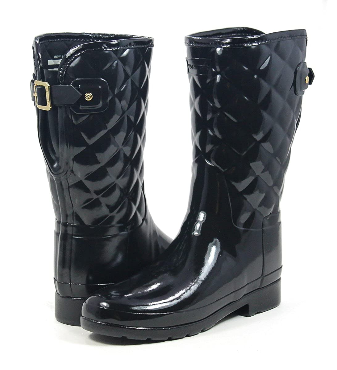 Hunter Original Refined Short Quilted Black Gloss Boot B075RZNS8W 9 M US