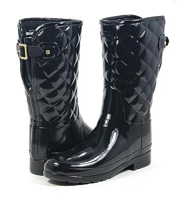 2088bc313c2e Hunter Boot Women s Refined Gloss Quilt Short Rain Boot Black 8 ...