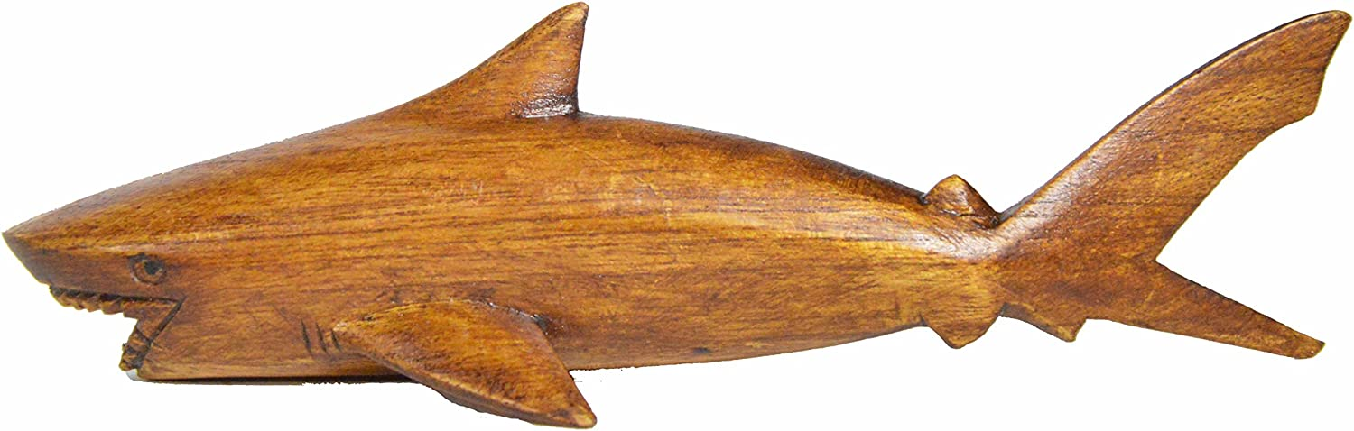 Hand Carved Chinaberry Wood Ocean Great White MACO Shark on Parasite Wood Coral Stand Nautical Decor
