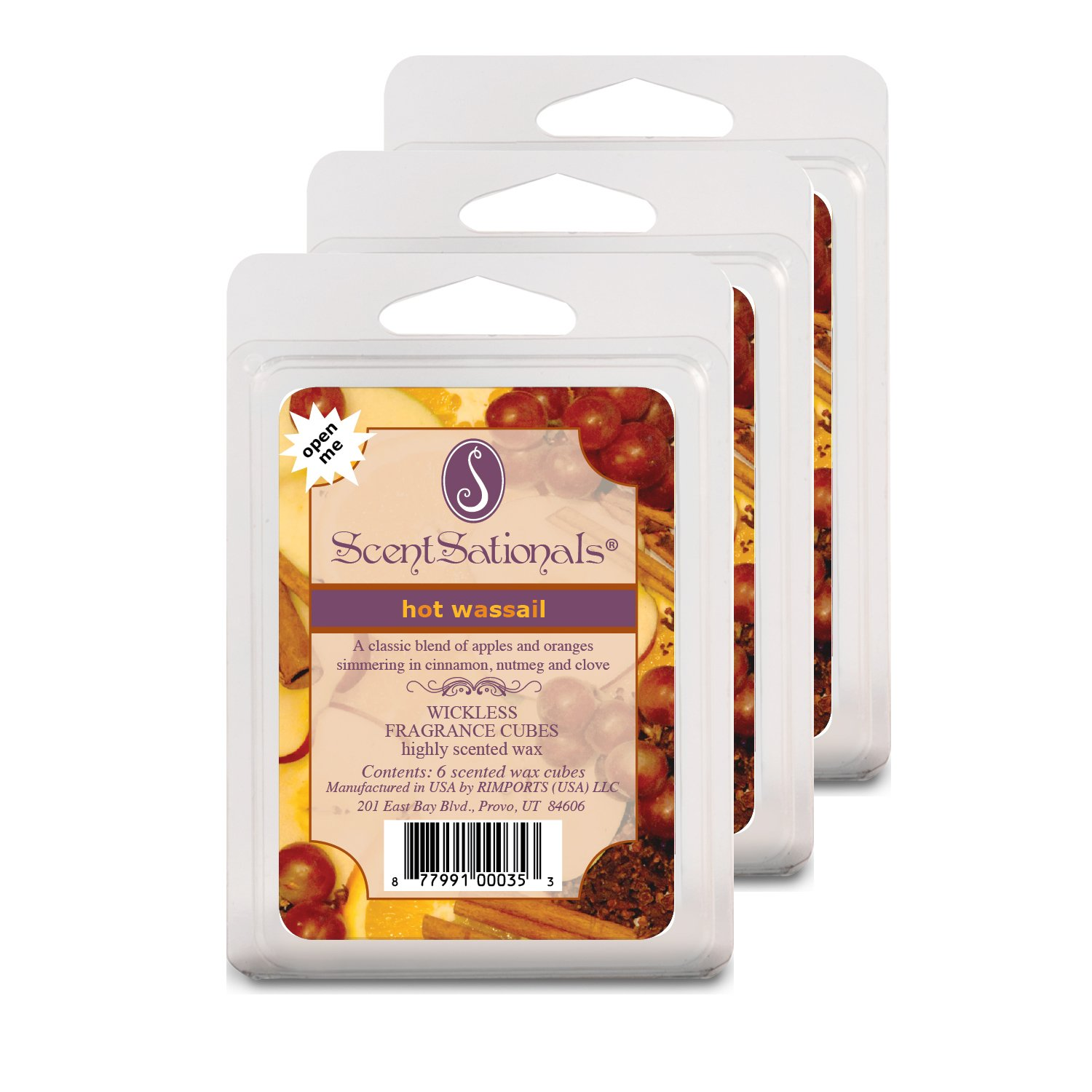 Hot Wassail Scented Wax Cubes For Warmers 3 Pack