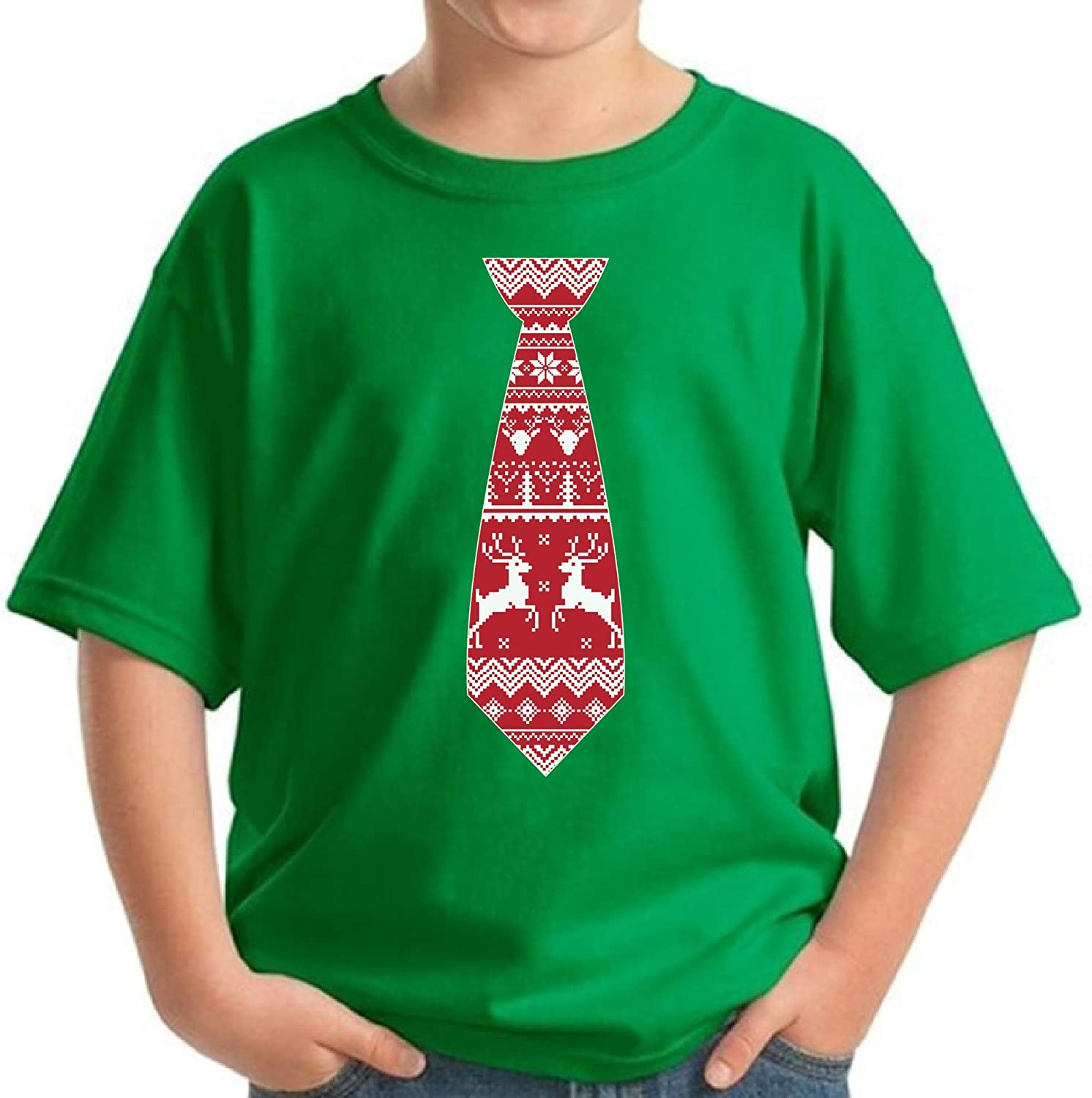 Pekatees Christmas Youth Shirt Xmas Shirt for Kids Cute Red Tie Shirt