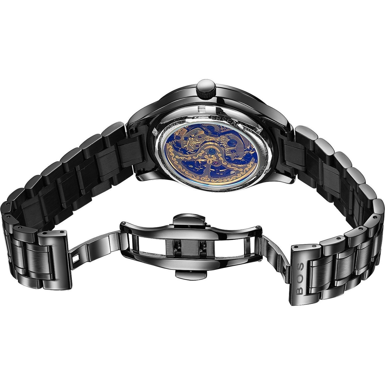 1c385cb97 Amazon.com: BOS Men's Automatic self-Wind Mechanical Pointer Skeleton Watch  Black Dial Stainless Steel Band 9008: Angela Von Bos: Watches