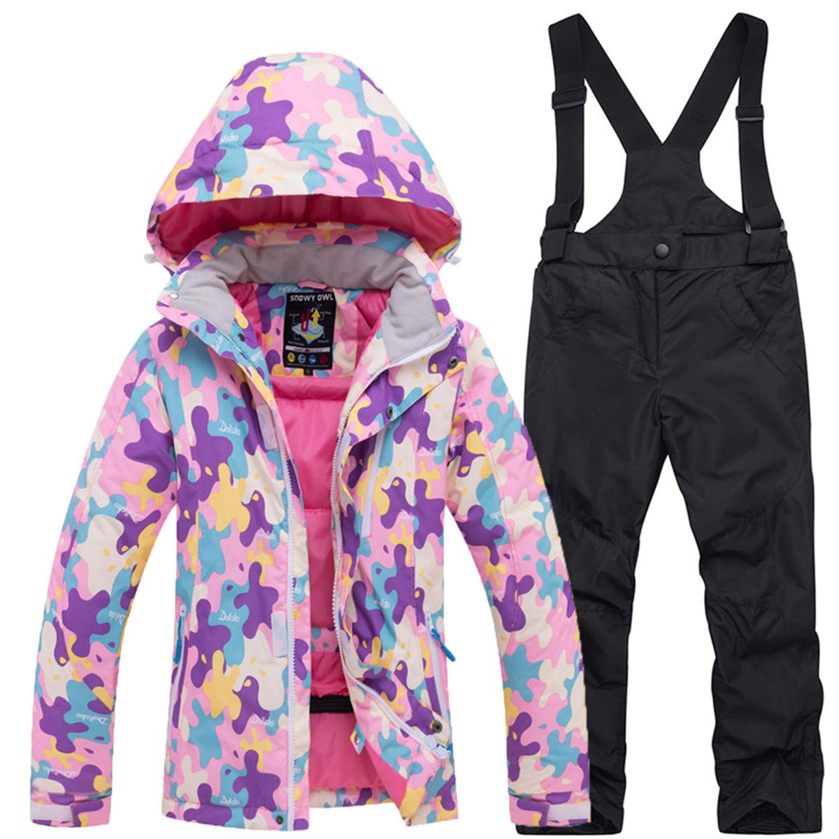 Little Girl's Boys's Outdoor Mountain Waterproof Windproof Snowboarding Jackets and Pants Set Insulated Snowboard Snowsuit Pink Black by REWANGOING