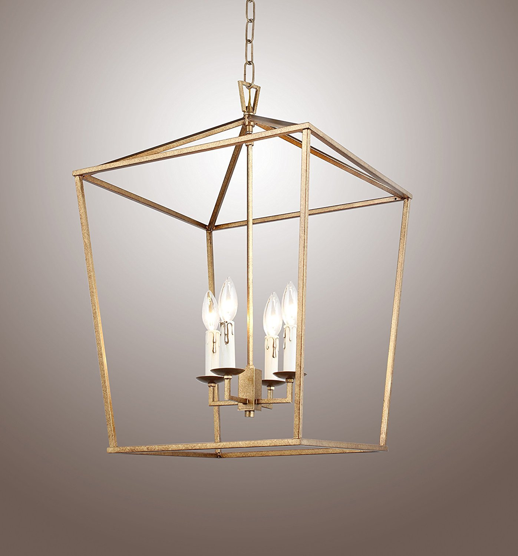 H25 x w17 gold cage large lantern iron art design candle style chandelier pendant ceiling light fixture amazon com