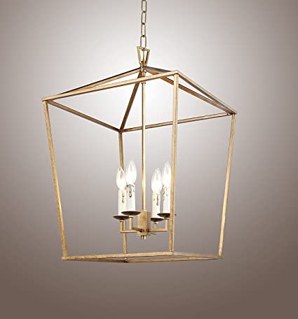 H25 x w17 gold cage darlana large lantern iron art design candle h25 x w17 gold cage darlana large lantern iron art design candle style chandelier pendant aloadofball Choice Image