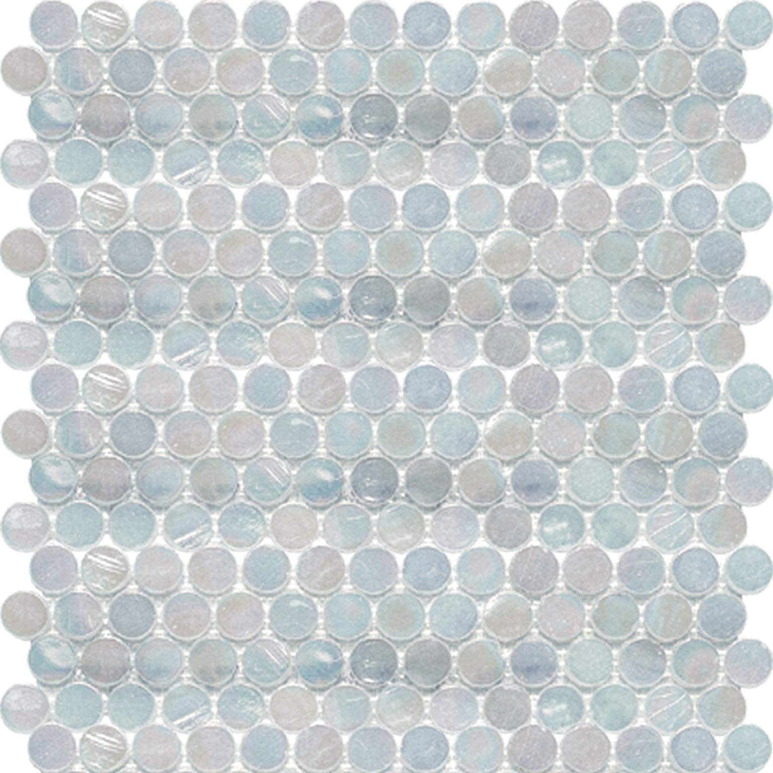 White Oyster Shell Penny Round Glass Mosaic by Squarefeet Depot (Image #1)
