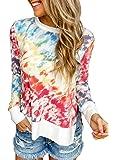 Diukia Women's Fashion Tie Dye Print Pullover Sweatshirt Casual Round Neck Long Sleeve Pullover Tops Shirt S-2XL