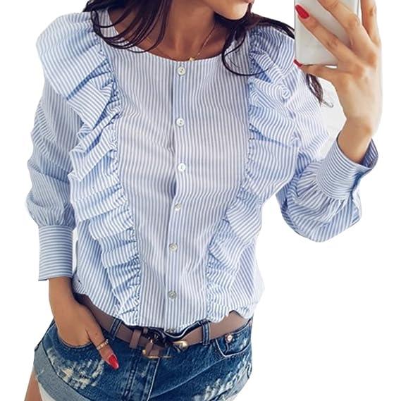 Primavera Camiseta para Mujer, Moda Color Sólido Blusa con Volantes Decorados Elegante Cuello Redondo Manga