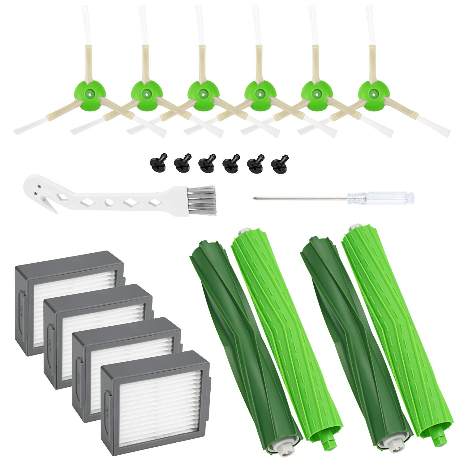 Cabiclean 14 Pack Replacement Accessory Kit Compatible with iRobot Roomba i7 i7+, 4 Filters, 6 Side Brushes, 2 Set Multi-Surface Rubber Brushes