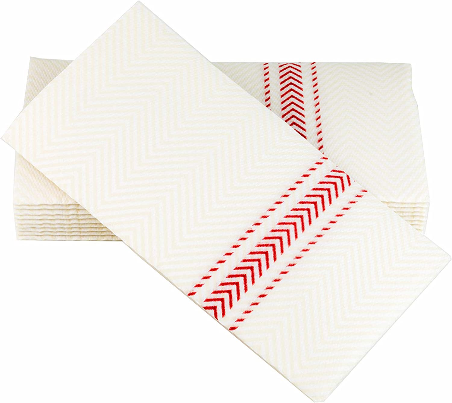 "ClassicPoint Dinner Napkins –RED Bistro Stripe – Decorative & Disposable Bistro Napkins – Soft, Absorbent & Durable (15.5""x15.5"" – Box of 50)"
