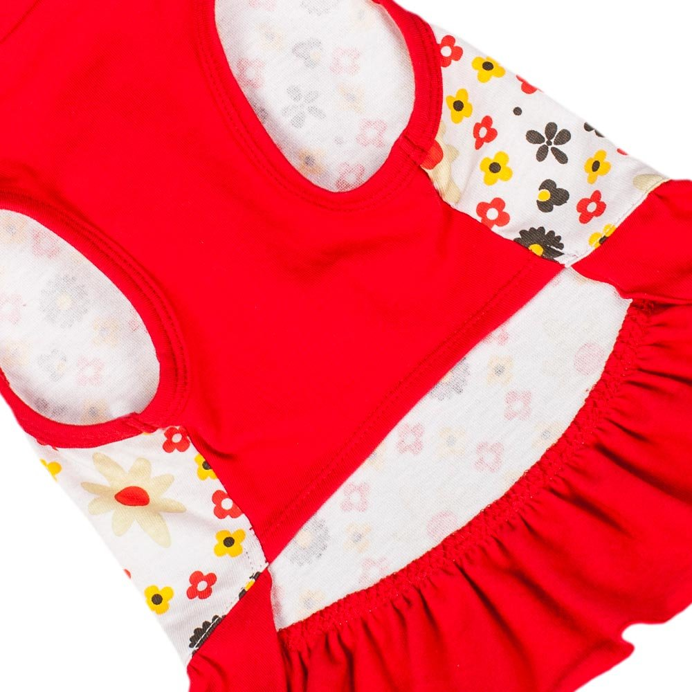 Back Length 10 Pack of 1 Clothes for Dogs Blueberry Pet Red /& Sunshine Yellow Floral Cotton Dog Dress