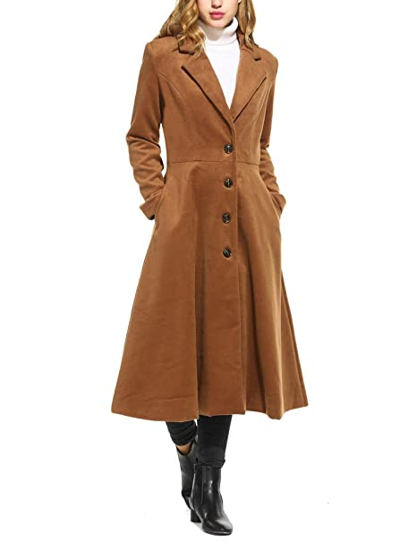 1940s Style Coats and Jackets for Sale Mofavor Women Long Trench Coat Single Breasted Casual Swing Coat Overcoat Wool Pea Coat $49.99 AT vintagedancer.com
