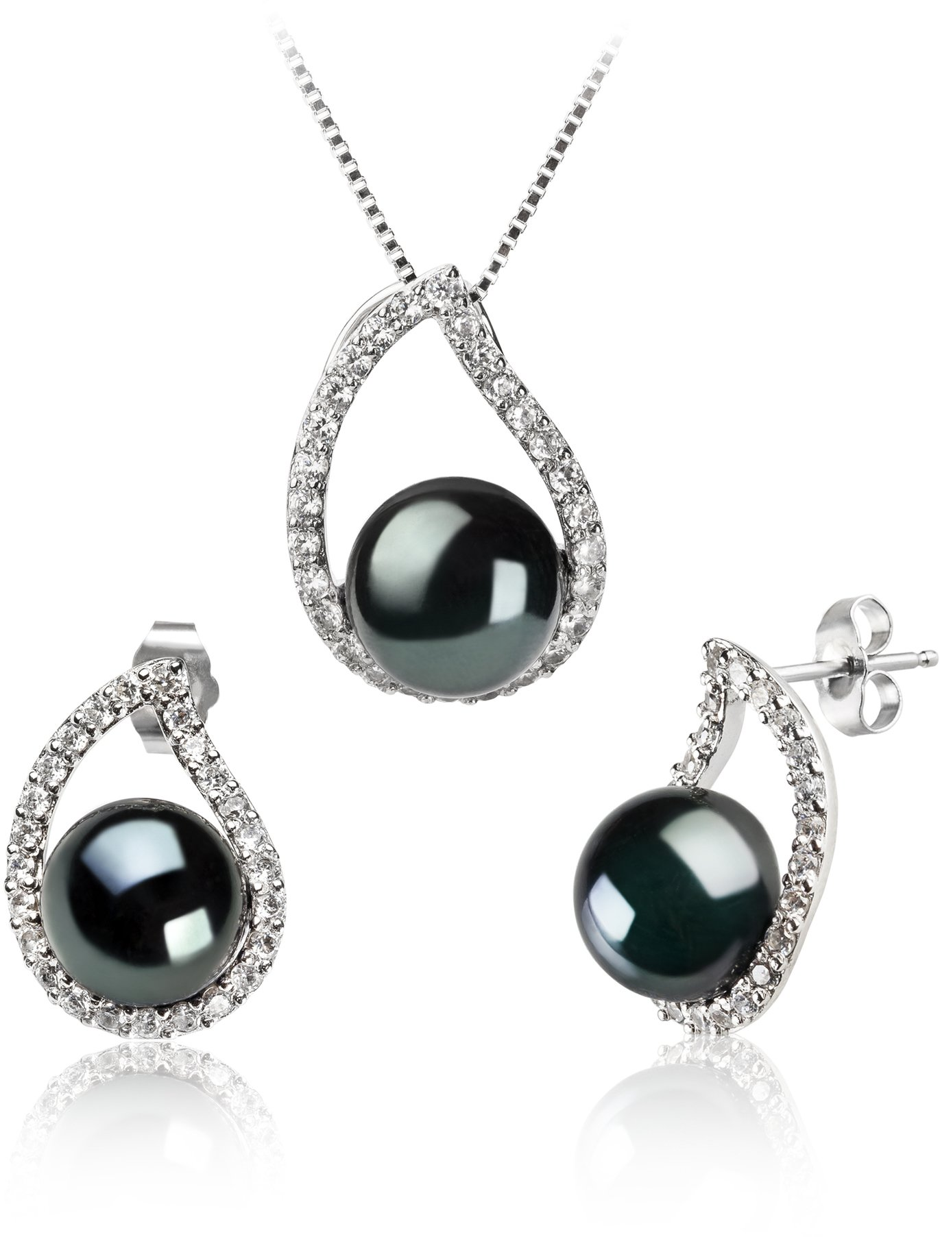 PearlsOnly - Isabella Black 9-10mm AA Quality Freshwater 925 Sterling Silver Cultured Pearl Set