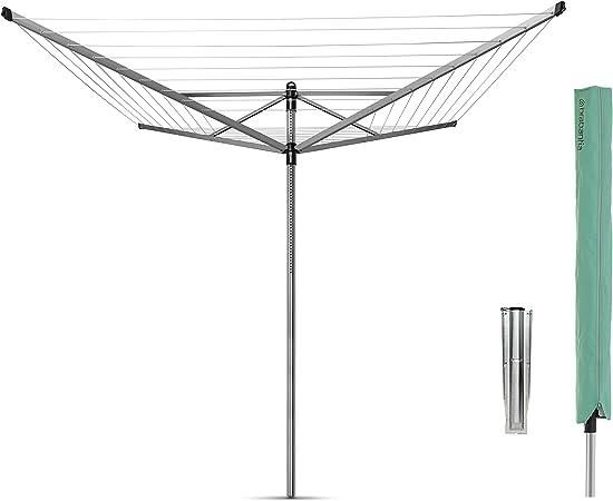 Brabantia Lift-O-Matic Tendedero de Jardín con Soporte y Funda, Acero Inoxidable, Gris Metalizado, 50 m de Cuerda: Amazon.es: Hogar