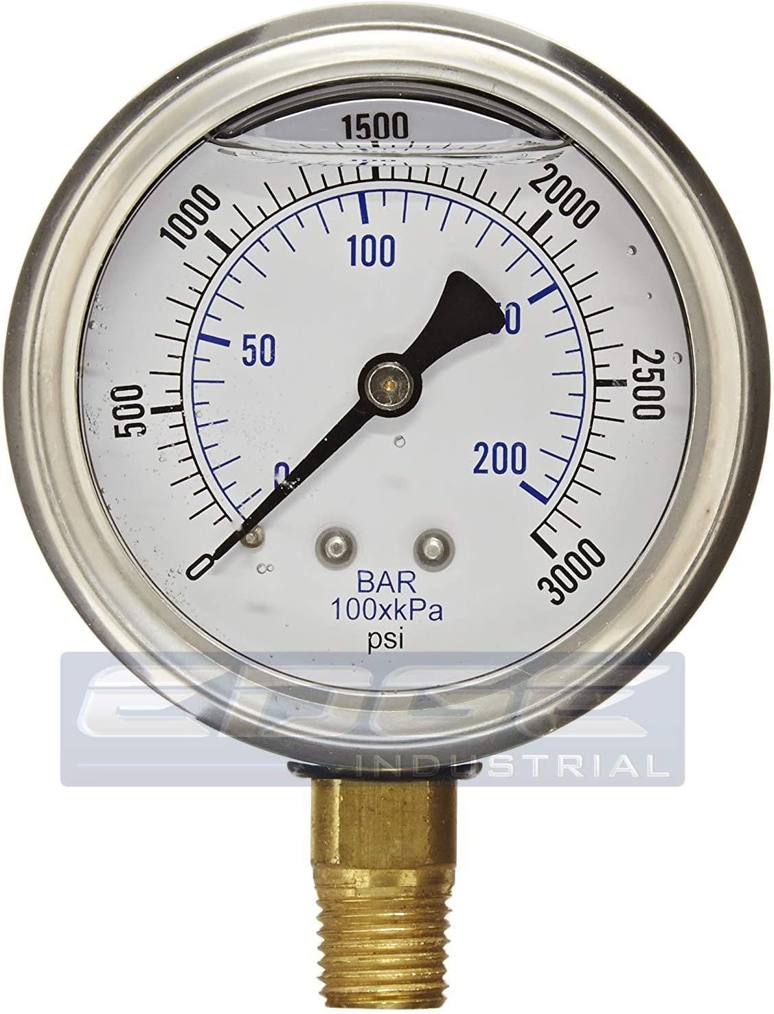 "NEW STAINLESS STEEL LIQUID FILLED PRESSURE GAUGE WOG WATER OIL GAS 0 to 3000 PSI LOWER MOUNT 0-3000 PSI 1/4"" NPT 2.5"" FACE DIAL FOR COMPRESSOR HYDRAULIC AIR TANK"