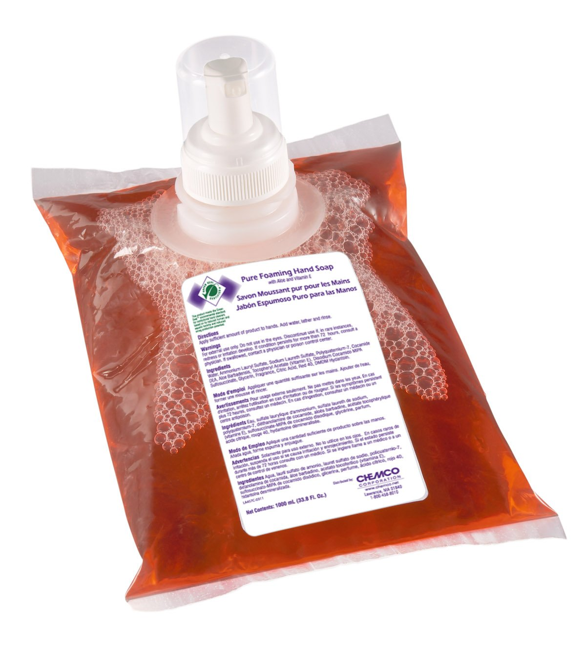 Chemco Pure Foaming Hand Soap (Case of 4-1000 mL Pouches)