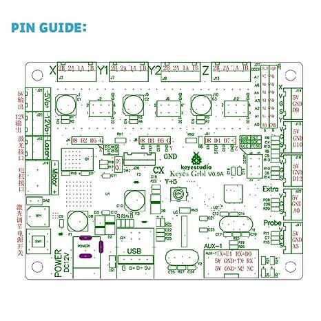 Keyestudio Grbl Cnc - Placa de control con cable USB, para cortadores láser, escritores de mano automáticos, taladros de agujeros, pintores de ...
