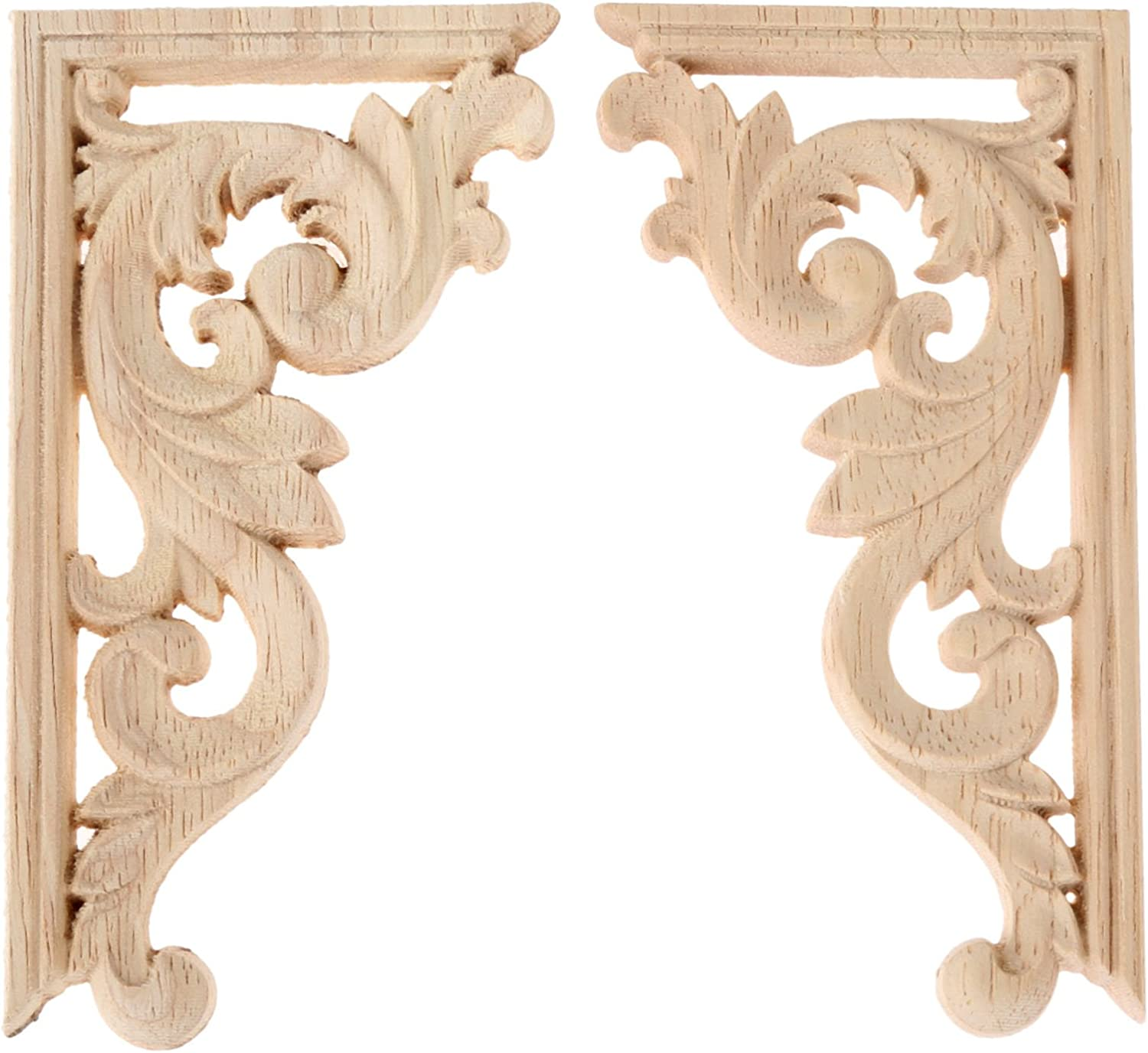 2PCS Wood Carved Applique Corner Onlay Furniture Decal Wall Vintage Decoration Unpainted Frame Applique Door Cabinet Bed Decal (Left&Right, 5.12