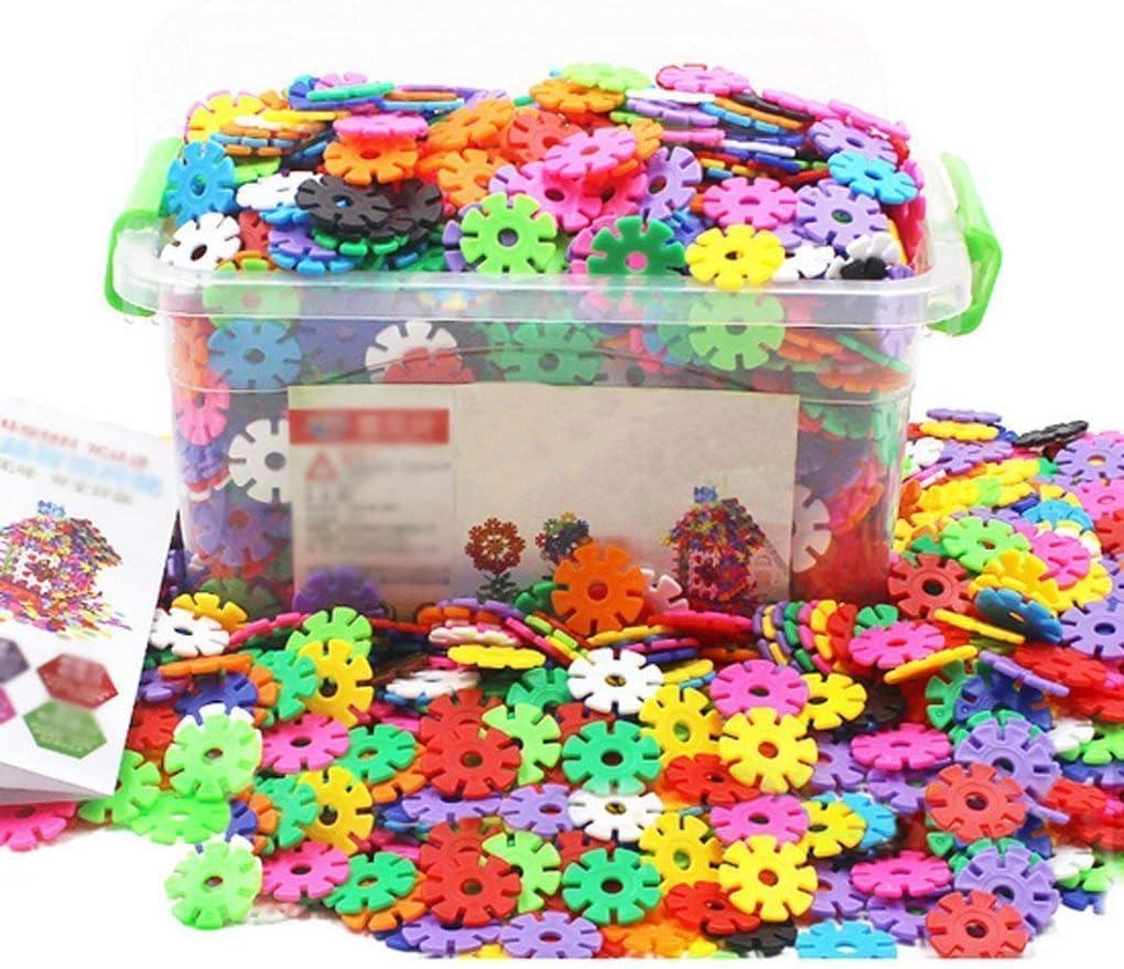 Juegos de construcción Snow Shape Snowflake Plastic Puzzle Creativo y educativo Diseñado por DIY Colores plegables portátiles de diferentes regalos de cumpleaños para niños (300pcs) (300 piezas)