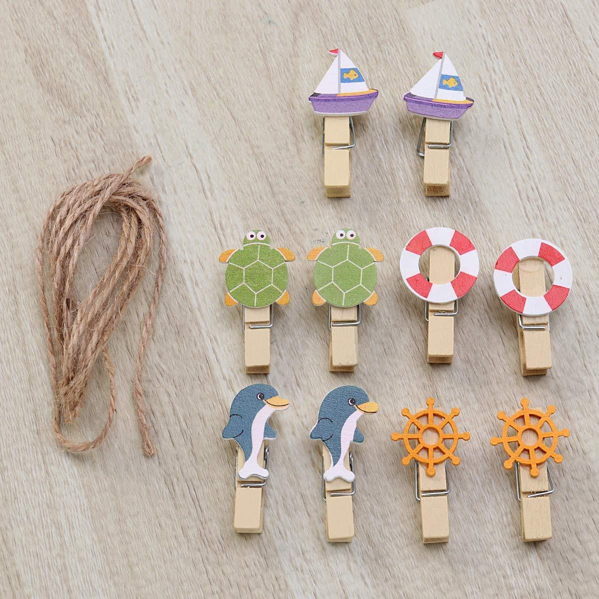 Amosfun 10pcs Bois Artisanat Pinces /à Linge Baleine Mini Pinces /à Linge Pinces Photo Clips en Bois Trombones avec Corde de Chanvre