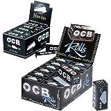 OCB Premium Rolls, 24 Stück im Karton + 25 Heftchen OCB Filter Tips perforiert Box schwarz im Set