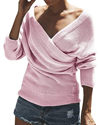 02ed20d73c4 Gemijack Womens Off The Shoulder Sweater Casual Wrap V Neck Knitted Loose  Long Sleeve Pullover at Amazon Women s Clothing store
