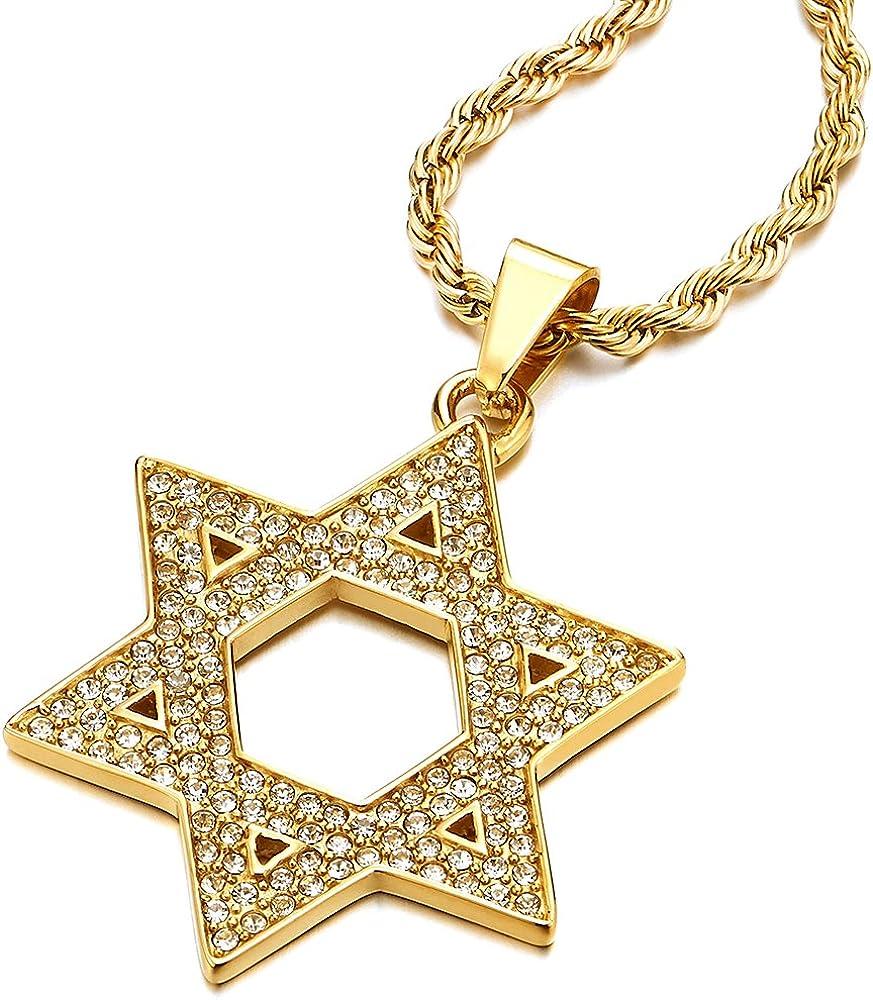 COOLSTEELANDBEYOND Grande Color Oro Estrella de David Colgante con Zirconio Cúbico, Collar con Colgante de Hombre Mujer, Acero Inoxidable