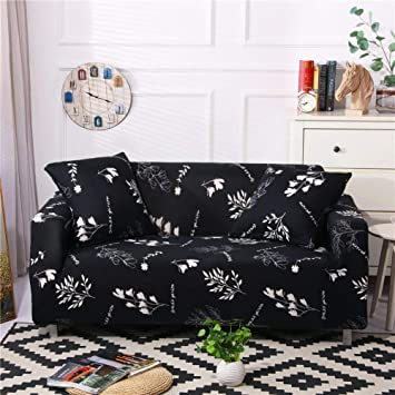 Stretch Sofa Slipcover Fitted Furniture Protector Print Sofa Cover Stylish Couch Cover with 2 Pillow Cases for Loveseats/Sofas/Sectional Couches,White ...